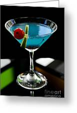 Blue Cocktail With Cherry And Lime Greeting Card