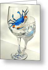 Blue Crab On Glass Greeting Card