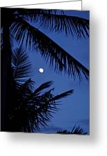 Blue Dawn Moon Greeting Card