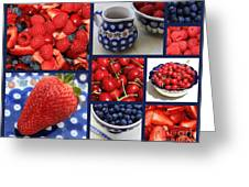 Blue Dishes And Fruit Collage Greeting Card