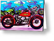 Blue Dogs On Motorcycles - Dawgs On Hawgs Greeting Card