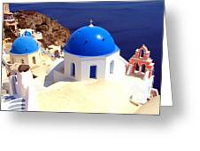 Blue Domes In Santorini Greeting Card