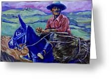 Blue Donkey Greeting Card
