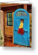 Blue Door And Peppers Greeting Card
