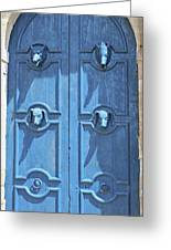 Blue Door Decorated With Wooden Animal Heads Greeting Card