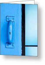 Blue Door Handle Greeting Card