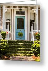Blue Door  Ivy Stairs Greeting Card