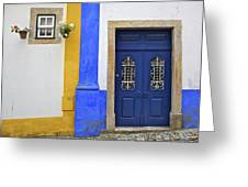 Blue Door Of Medieval Obidos Greeting Card by David Letts