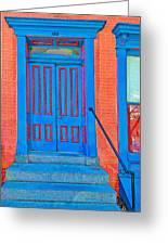 Blue Door On Red Brick Greeting Card