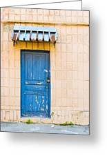 Blue Door With A Lock Greeting Card