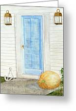 Blue Door With Pumpkin Greeting Card