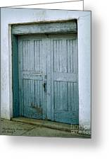 Blue Doors On Brewer Street Greeting Card