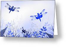 Blue Dragonfly Art Greeting Card