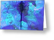 Blue Dragonfly By Sharon Cummings Greeting Card