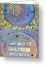 Blue Drains Greeting Card