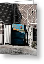 Blue Dumpster Greeting Card