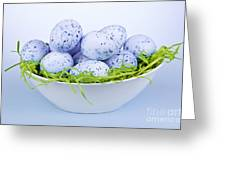 Blue Easter Eggs In Bowl Greeting Card