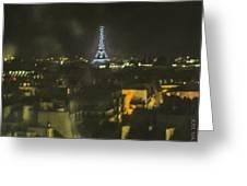 Blue Eiffel At Night Greeting Card