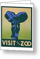 Blue Elephant Visit The Zoo Greeting Card