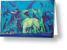 Blue Elephants Greeting Card