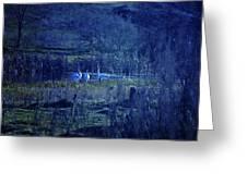 Blue Fantasy Swans Greeting Card