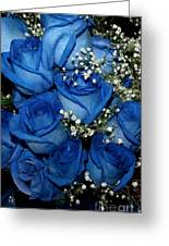 Blue Fire And Ice Roses Greeting Card