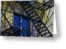 Blue Fire Escape Greeting Card