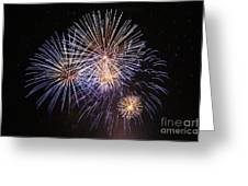 Blue Fireworks At Night Greeting Card