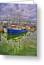 Blue Fishing Boat Hdr Greeting Card