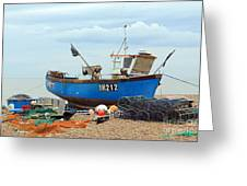 Blue Fishing Boat Greeting Card