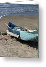 Blue Fishing Boat On The Beach Greeting Card