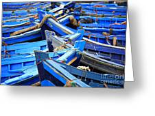 Blue Fishing Boats Greeting Card