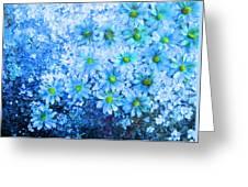 Blue Floral Fantasy Greeting Card