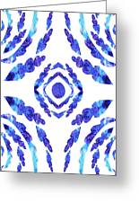 Blue Floral Pattern II Greeting Card