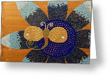 Blue Flower And Dragonfly Greeting Card