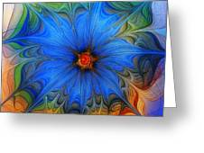 Blue Flower Dressed For Summer Greeting Card by Karin Kuhlmann