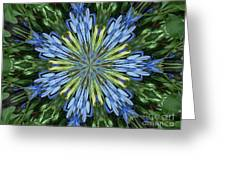 Blue Flower Star Greeting Card by Annette Allman