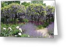 Blue Flowergarden With Wisteria Greeting Card