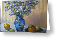 Blue Flowers And Fruit Greeting Card