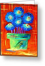 Blue Flowers On Orange Greeting Card