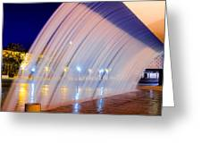 Blue Fountain At Night Greeting Card