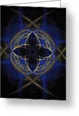 Blue Fractal Cross Greeting Card