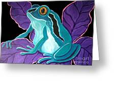 Blue Frog Purple Flower Greeting Card