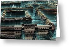 Blue Future City Greeting Card by Bernard MICHEL
