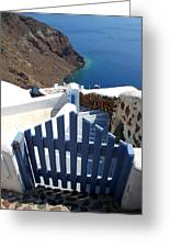 Blue Gate Oia Santorini Greek Islands Greeting Card