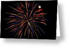 Blue Gold Pink And More - Fireworks And Moon Greeting Card