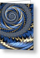 Blue Gold Spiral Abstract Greeting Card