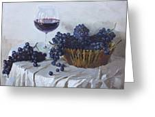 Blue Grapes And Wine Greeting Card by Ylli Haruni