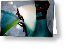 Blue Green Art Glass 2 Greeting Card by Judy Paleologos