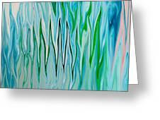 Blue Green Flames Greeting Card